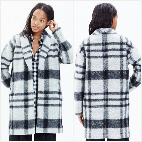 Madewell Jackets & Blazers - Madewell | Florence Wool Blend Plaid Cocoon Coat S